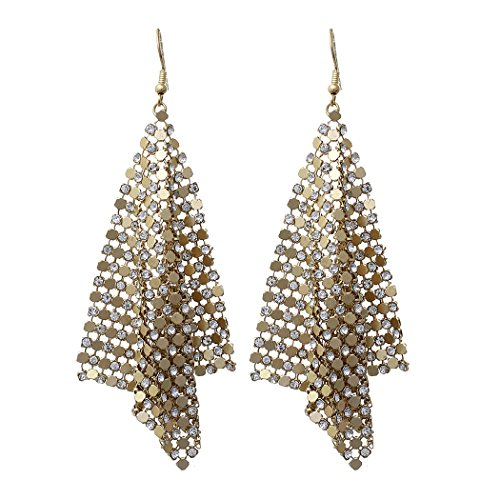 Rosemarie Collections Women's Statement Drop Earrings Sparkling Rhinestone Mesh (Gold Tone)