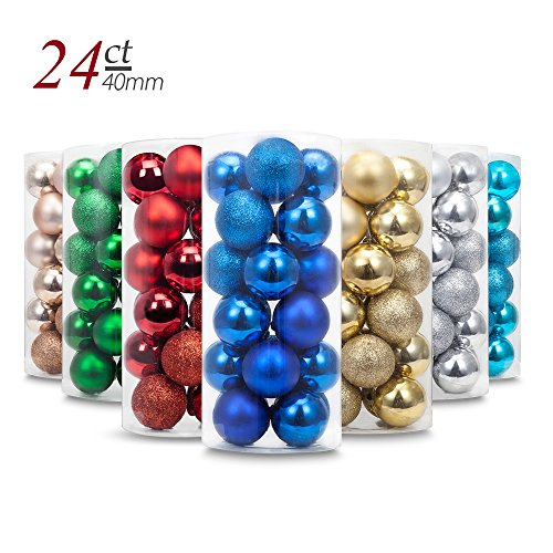 Yoland 24ct Barrel Plating Multicolor Christmas Ball Ornaments (40mm/1.57'' in) (Blue)
