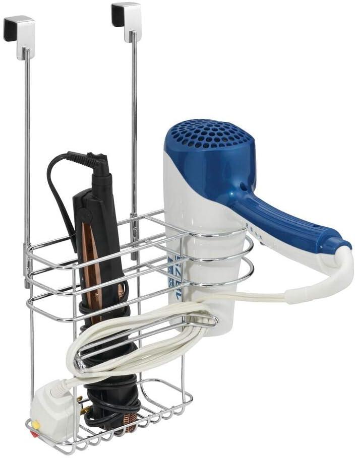 mDesign organizador de baño con 2 compartimentos - Soporte para secador de pelo sin perforaciones en color cromado - Ideal también para plancha pelo