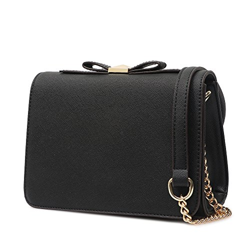 Small Crossbody Purse Wallet Pu Leather Bags with Bowknot Chain Strap for Women Shoulder Handbags (Black) (Wallet Purses)
