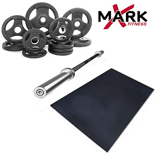 XMark Fitness Combo Offer Olympic Excercise Bar with Premium Quality Rubber Coated Tri-Grip Olympic Plate Weight Sets and Ultra Thick Rubber Workout Gym Flooring mat (Bar+Weight 165lb+Gym Mat)