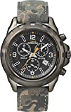 Timex Men's Quartz Watch with Black Dial Chronograph Display and Multi-Colour Leather Strap T49987