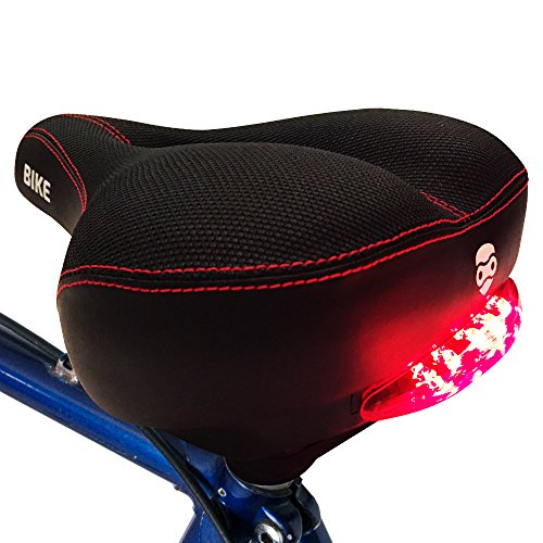 Seat Pad Comfort (Bright Bike Rebel Red Tail Lights Comfort Saddle - specialized ergonomic pad exercise mountain bicycle cushion seat for men women with 3 electric LED light settings - safety at night - easy mountable)