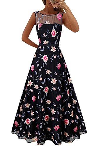 De Mujer Maxi La Vestido Black YACUN De Boda Prom Bordado Fiesta Noche La Vestido De Vestido Floral 5BAPAq