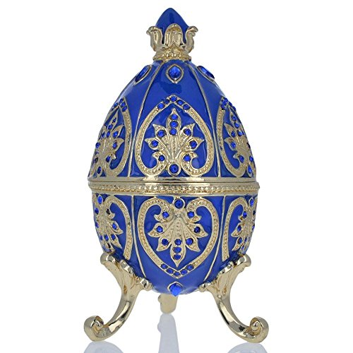 BestPysanky Blue Jewel Royal Crown Royal Inspired Russian Egg 4.5 Inches