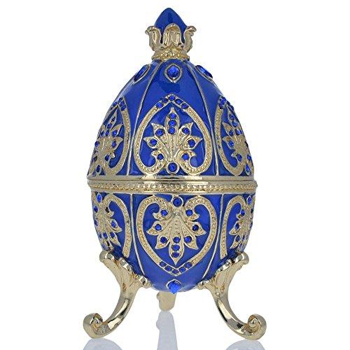 (BestPysanky Blue Jewel Royal Crown Royal Inspired Russian Egg 4.5 Inches)