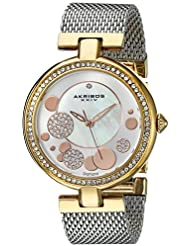 Akribos XXIV Womens AK881TRI Mother of Pearl Gold-Tone Watch With Stainless Steel Mesh Bracelet