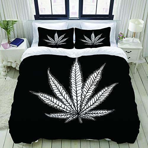 XINGAKA Cannabis Leaf Marijuana Herb Weed Ganja Illicit Narcotic Illegal Drug Symbol Studio Single Apartment Decorate Decorative Custom Design 3 PC Duvet Cover Set Queen/Full