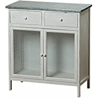 The Farmers Market Shabby Commode Cabinet, 2 Drawers, Galvanized Metal, Chicken Wire, Distressed Rustic Finish, White Stained Sustainable Wood, 29 ½ L x 13 ¾ W x 32 ¾ H Inches. By Whole House Worlds