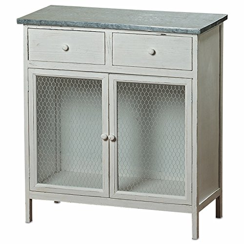 The Farmeru0027s Market Shabby Commode Cabinet, 2 Drawers, Galvanized Metal,  Chicken Wire, Distressed Rustic Finish, White Stained Sustainable Wood, ...