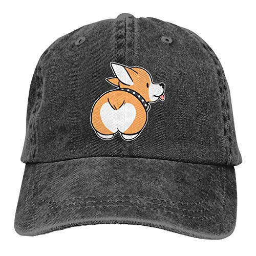 Corgi Butt Baseball Cap Unisex Distressed Hats Adjustable Plain Cap Black]()