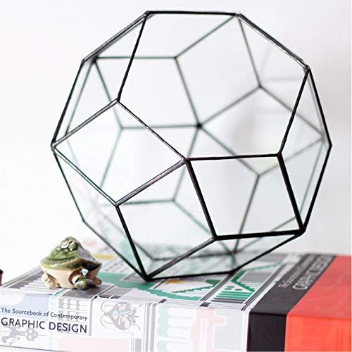 Waen Terrarium Collection Large Glass Geometric Terrarium Container (Copper, Silver, Black)