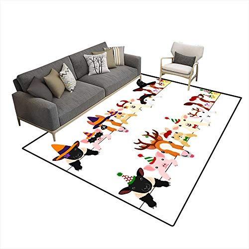 Area Rugs for Bedroom Cute Farm Animal Babies Border Set with Halloween Costumes anwith Christmas Costumes