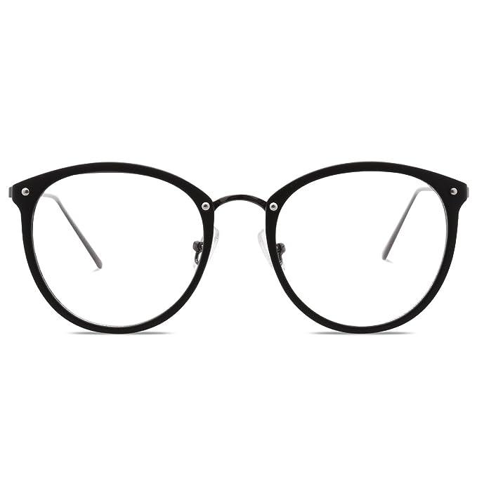 4e6b4304a9d Amomoma Fashion Round Eyewear Frame Eyeglasses Optical Frame Clear Lens  Glasses Matte Black Gunmetal