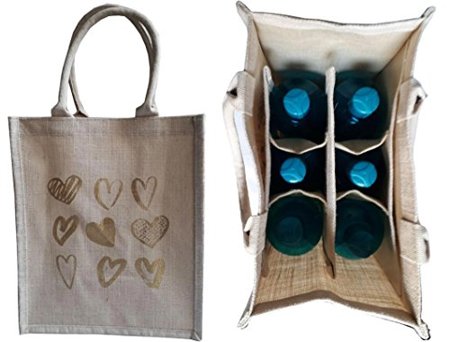 KVR natural Jute burlap wine beer water bottle cum can carrier bag Heart printed Grocery & lunch bag, Eco Environment Friendly versatile flexible(6 bottle bag, Print-4)