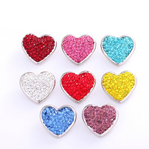 Ginooars Pack of 10 Random Colors 20-22mm Full Rhinestones Heart Shape Snaps Charms for Snap Jewelry (Full Rhinestones Snap)