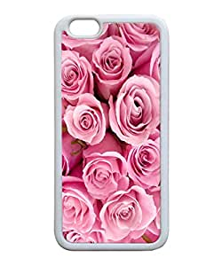 Generic Pink Roses Design Prite Back Case for Apple Iphone 6 4.7 Inch TPU White