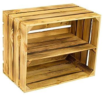 Sólido geflammte Caja como Schuh- y Estante para libros - Caja de fruta, Nuevo + Natural: Amazon.es: Hogar
