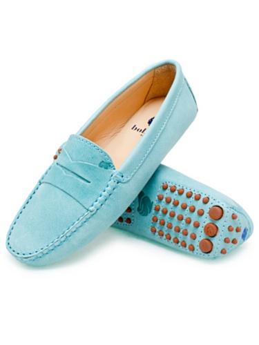 Bobbies La Parisienne Damen Loafer Mokassin Leder Eisblau Blau