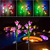 LLguz 4 LED Lily Discoloration Solar Flower Light Outdoor Garden Romantic Dreamlike Xmas Holiday Home Garden Decoration [Ship from USA Directly]