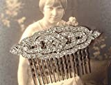 1920s Art Deco Crystal Rhinestone Bridal Hair Comb, 2 5/8 Inch Vintage Inspired