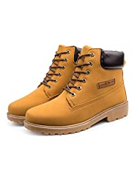 YH Mens Winter Plus size Retro High-layer Lace-up Martin Cotton Boots