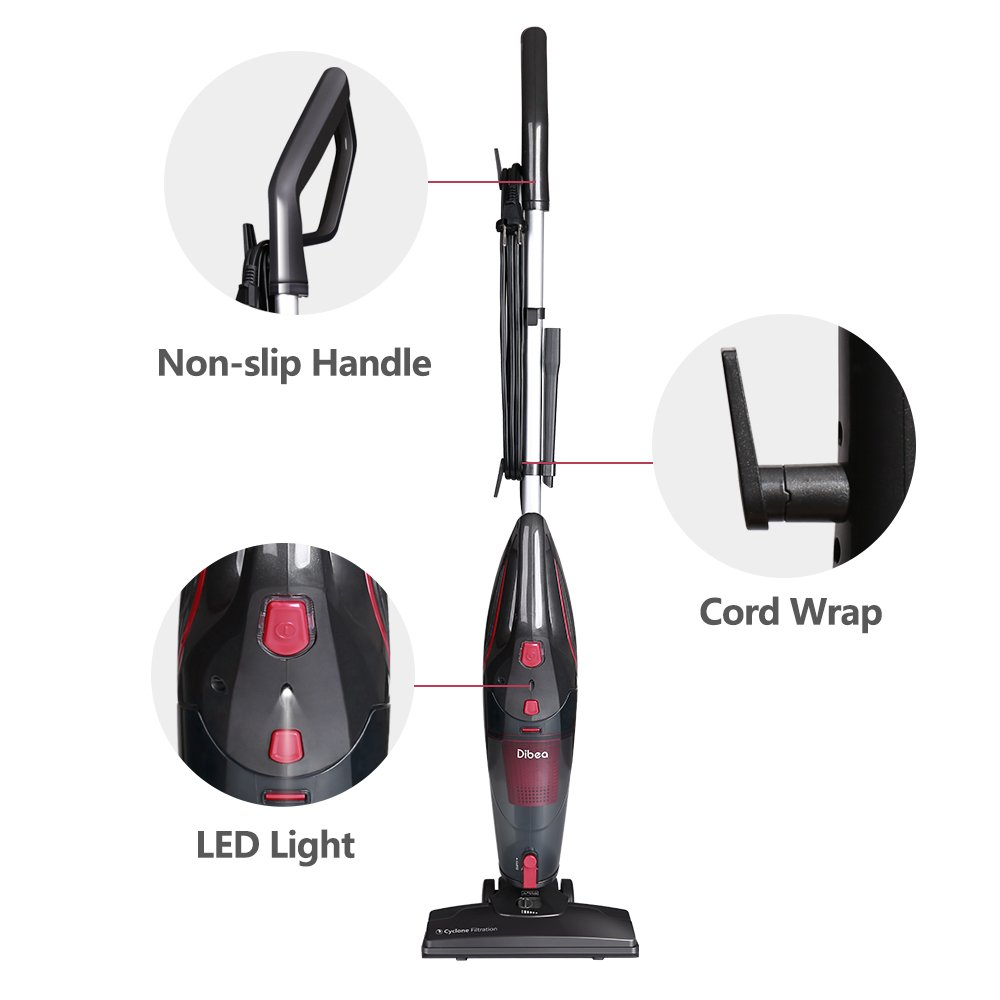 Dibea 600W Lightweight Corded Stick Vacuum Cleaner, 2 in 1 Bagless Hard Floor Pet Hair Vacuum with Cyclone HEPA Filtration & Crevice Tool-SC4588 by Dibea (Image #5)