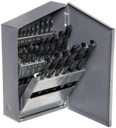 Chicago Latrobe 150 Series High-Speed Steel Jobber Length Drill Bit Set with Metal Case, Black Oxide Finish, 118 Degree Conventional Point, Metric, 25-piece, 1.0mm - 13.0mm in 0.5mm increments