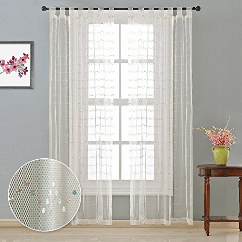 Nicetown Groovy Fun Sarkle Sequins Tab Top Sheer Window Curtains (Zigzag, One Panel, W50 x L84, Vanilla)