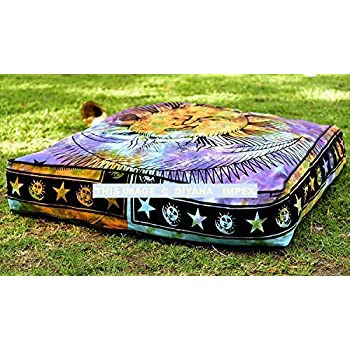 DIYANA IMPEX Sun & Moon Tie Dye Square Floor Pillow Large Ottoman Pouf Cover, Hippie Indian Seating Daybed Throw Sofa Cushion Cover Outdoor Dog Bed ...