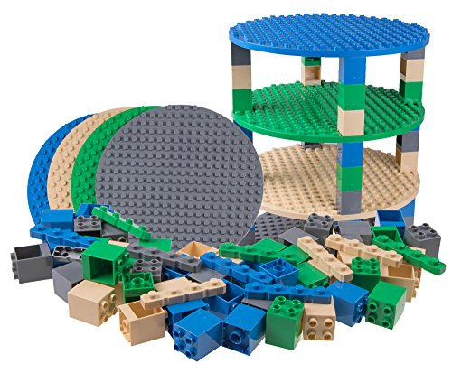 Strictly Briks Classic Big Briks Circle Tower Construction Set 100% Compatible with All Major Brands | Large Pegs for Toddlers | Ages 3+ | Tight Fit Building Bricks in Nature Colors | 64 Pieces
