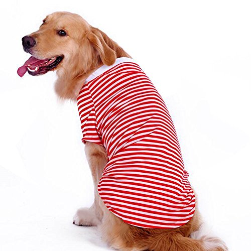 Petroom Dog Striped T Shirt for Medium Large Dogs,Dog Cute Shirts,Breathable Cotton Vest Red Stripe XL