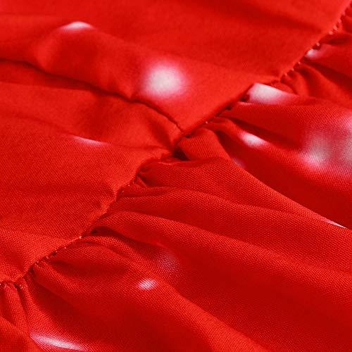 Mode Imprimer À Keerads Rond Skirt Noël Swing Jupe Vintage Dentelle Femmes Long Robe Longues Col Dames De Dot Rouge Manches Père En Neige TpqxYTr