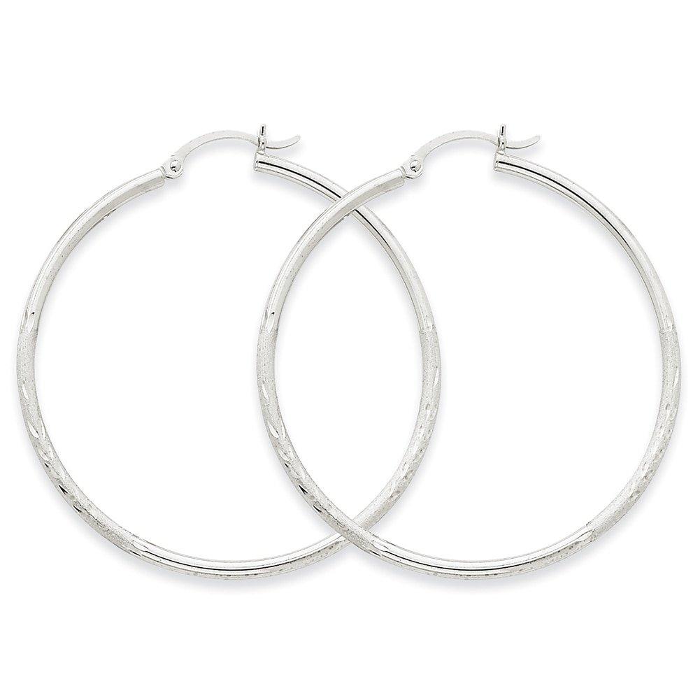 Lex /& Lu 14k White Gold Satin /& D//C 2mm Round Hoop Earrings LAL81665