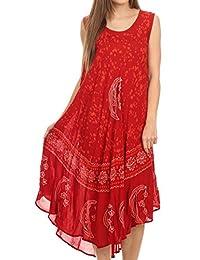 Sakkas Moon and Stars Batik Caftan Tank Dress / Cover Up