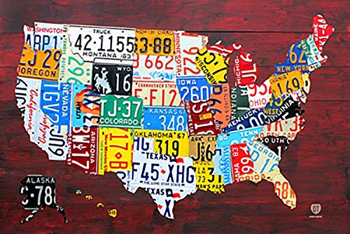 - Laminated License Plate Map of The United States Poster 36 x 24in