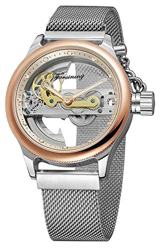 (Unique Mens Automatic Watch Transparent Watch Dial Hollow Skeleton Silver Tone Mesh Band Watch (Rose Gold) )