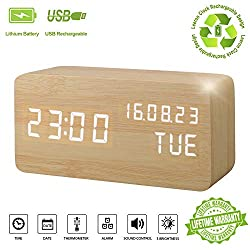 Alarm Clock,Wood Digital Alarm Clock Displays Time Date Week and Temperature Sound Control Rechargeable LED Wooden Desk Clocks for Kid, Home, Office, Daily Life, Heavy Sleepers(Wood - Rechargeable)