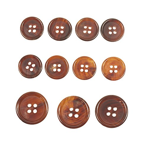 YaHoGa 11 Pieces Brown Horn Buttons Set for Blazers Suits Coats 15MM 20MM Real Buffalo Horn Blazer Buttons Suit Buttons for Men (Light Brown)