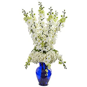 Nearly Natural 1657-WH Delphinium and Hydrangea Artificial Blue Vase Silk Arrangements White 120