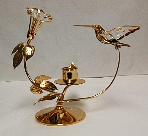 - Antique Hummingbird/Flower Taper Holder - 24k Gold Plated with Clear Swarovski Austrian Crystal