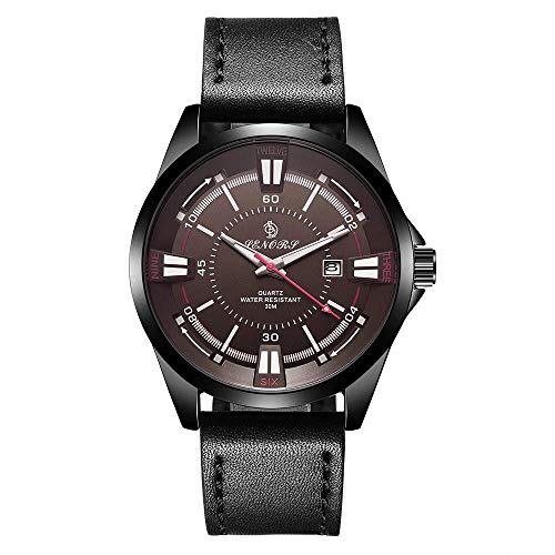 Buckle Steel Dial Stainless (IF.HLMF Men's Sports Watch, Pointer Display Stainless Steel Buckle Round Large Dial Quartz Watch, Men's Fashion Leather Waterproof Watch)