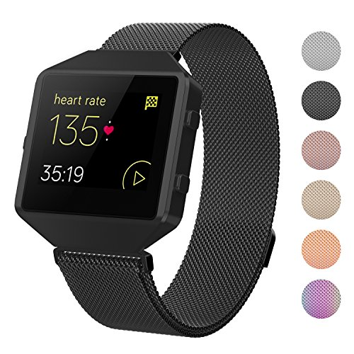 CRODI Compatible Fitbit Blaze Bands New Metal Frame, Stainless Steel Magnetic Milanese Replacement Band Fit bit Blaze Women Men