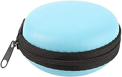 Mini estuche organizador electrónico de transporte redondo de EVA a prueba de golpes, resistente al agua, bolsa de almacenamiento para tarjeta SD, audífonos inalámbricos, iPod, color azul: Amazon.es: Oficina y papelería