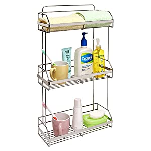 Stainless Steel Space Saver 3 Tier Bathroom Toiletries, Towel Shelves /  Kitchen Spice Rack Organizer