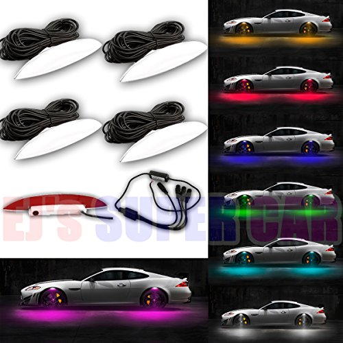 Car Wheel Lights,4 Pcs Car-styling Car Strobe LED Multicolor Wheel Lights Tire Light Flashing Atmosphere Lamp DRL Tire Valve Lamp Car Wheel Eyebrow Shape Warning - Multi Color Rims
