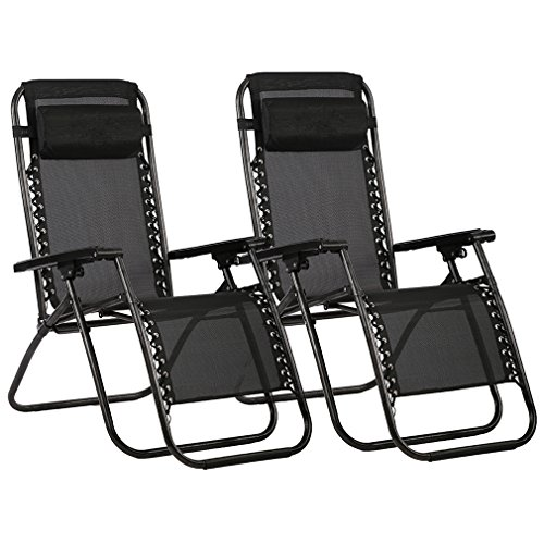 Zero Gravity Chairs Case Of (2) Black Lounge Patio Chairs Outdoor Yard Beach O62 - Folding Lounge Chair