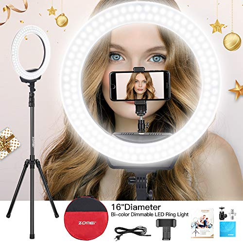 ZOMEi Ring Light 16 /40.5cm Outer 3200-5600K Dimmable LED Ring Light, with Tripod and Phone Holder Carrying Bag for Camera,Smartphone,YouTube,Self-Portrait Shooting? Protect Eyes?