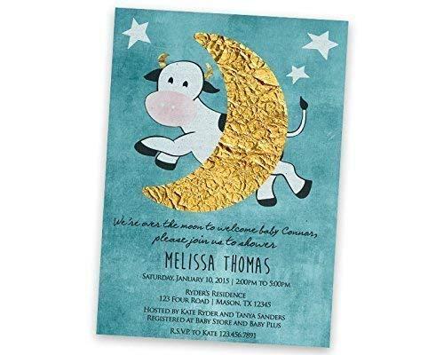 Amazoncom Nursery Rhyme Baby Shower Invitations Cow Moon Boho