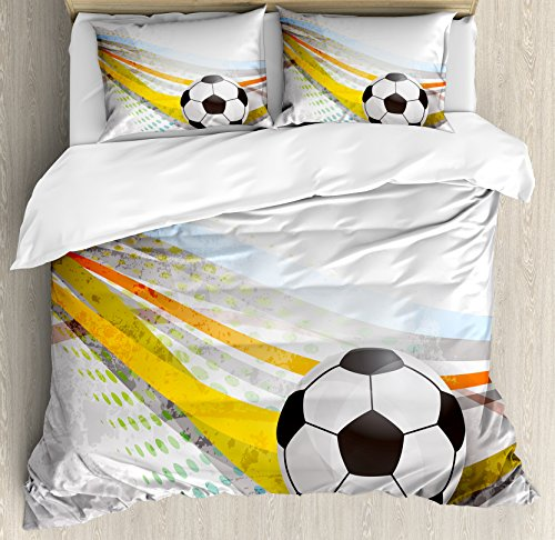 Ambesonne Teen Room Decor Duvet Cover Set Queen Size, Soccer Background Football Colorful Lines Sports Game Digital Display, Decorative 3 Piece Bedding Set 2 Pillow Shams, Multicolor by Ambesonne